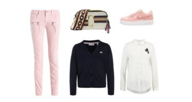 FÖRMÅNLIG shopping – Ljusrosa + mörkblått (Look #1)